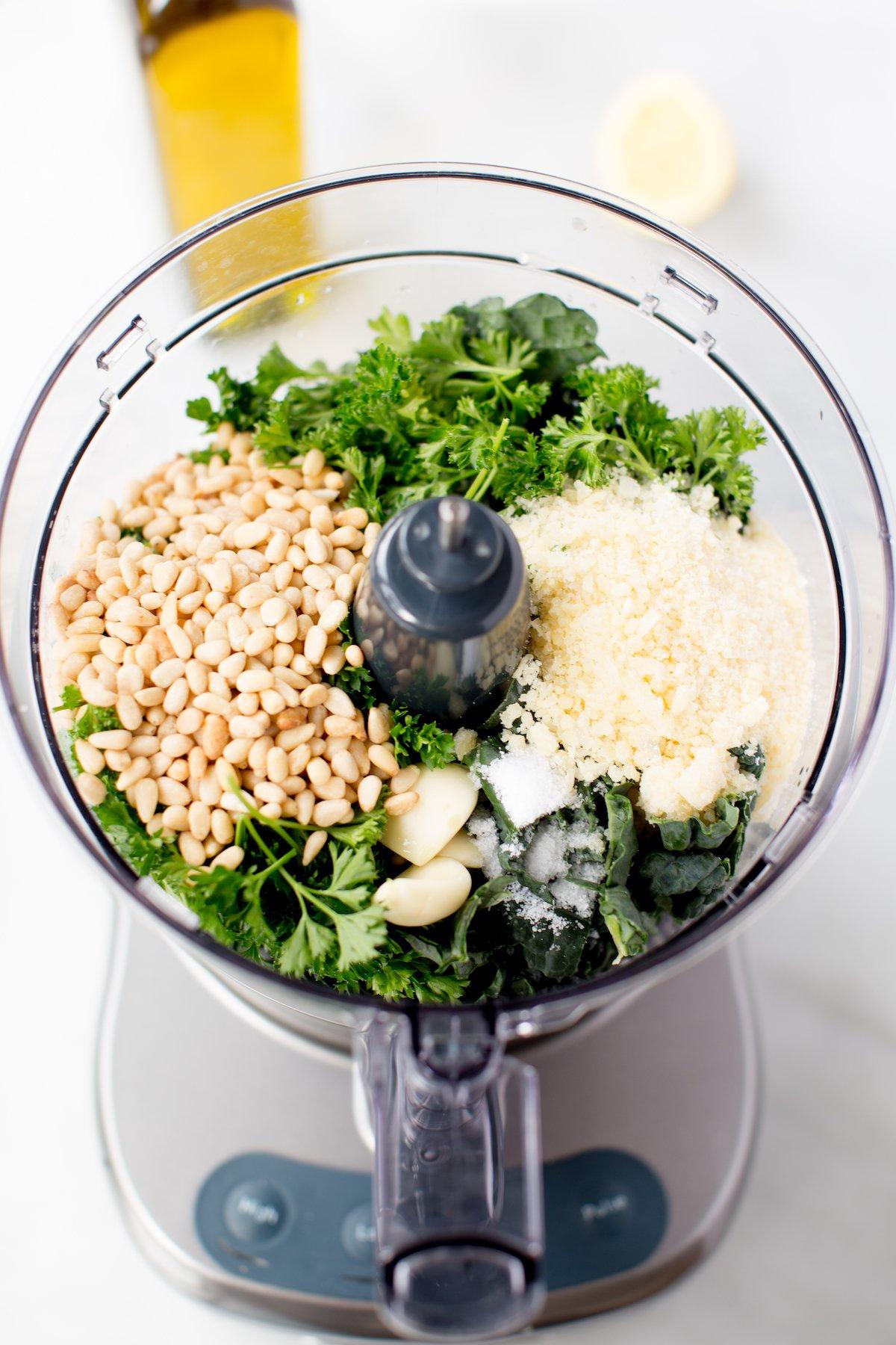 ingredients for kale pesto in food processor