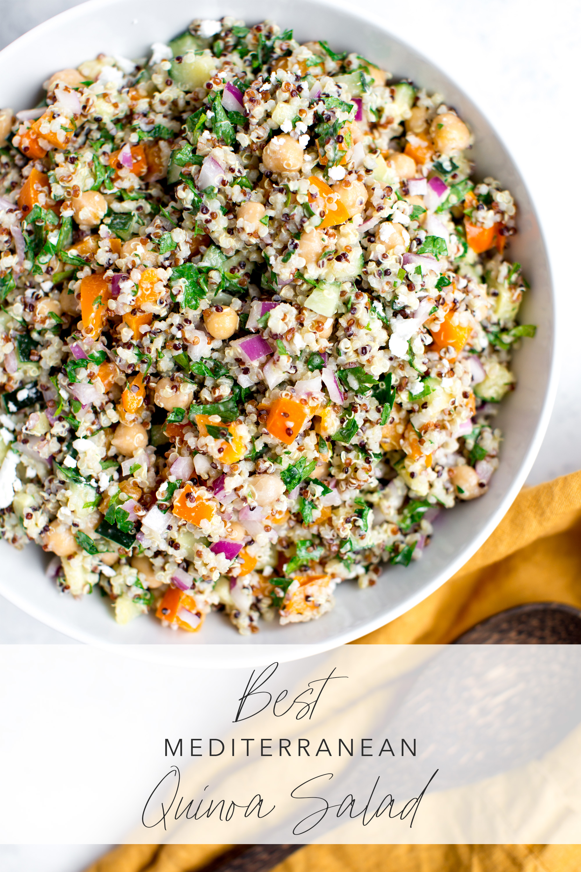 Quinoa salad made with bell pepper, quinoa, parsley, red pepper, cucumber and feta dressing image has recipe title
