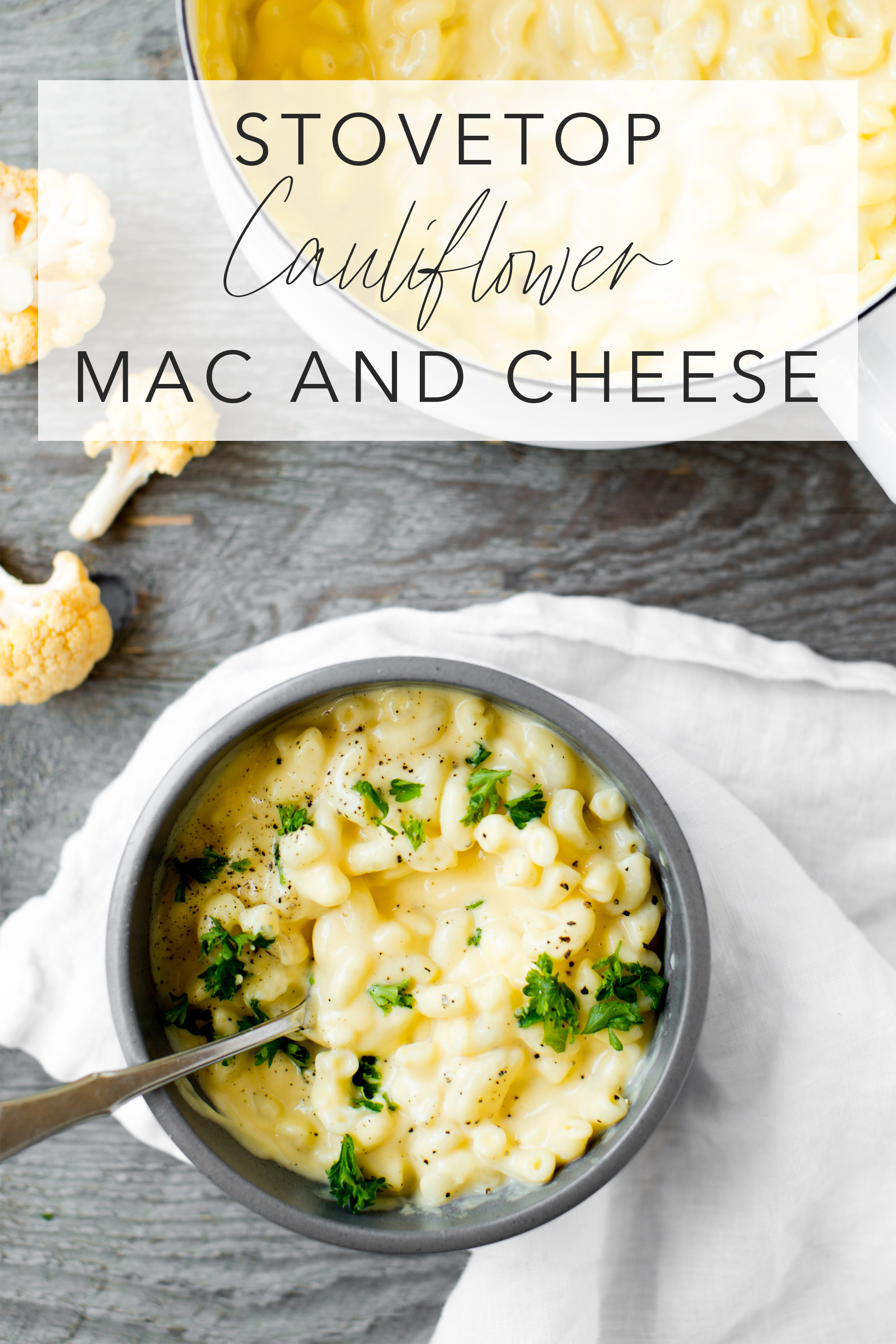 stovetop cauliflower mac and cheese in a bowl with a gray background and text overlay
