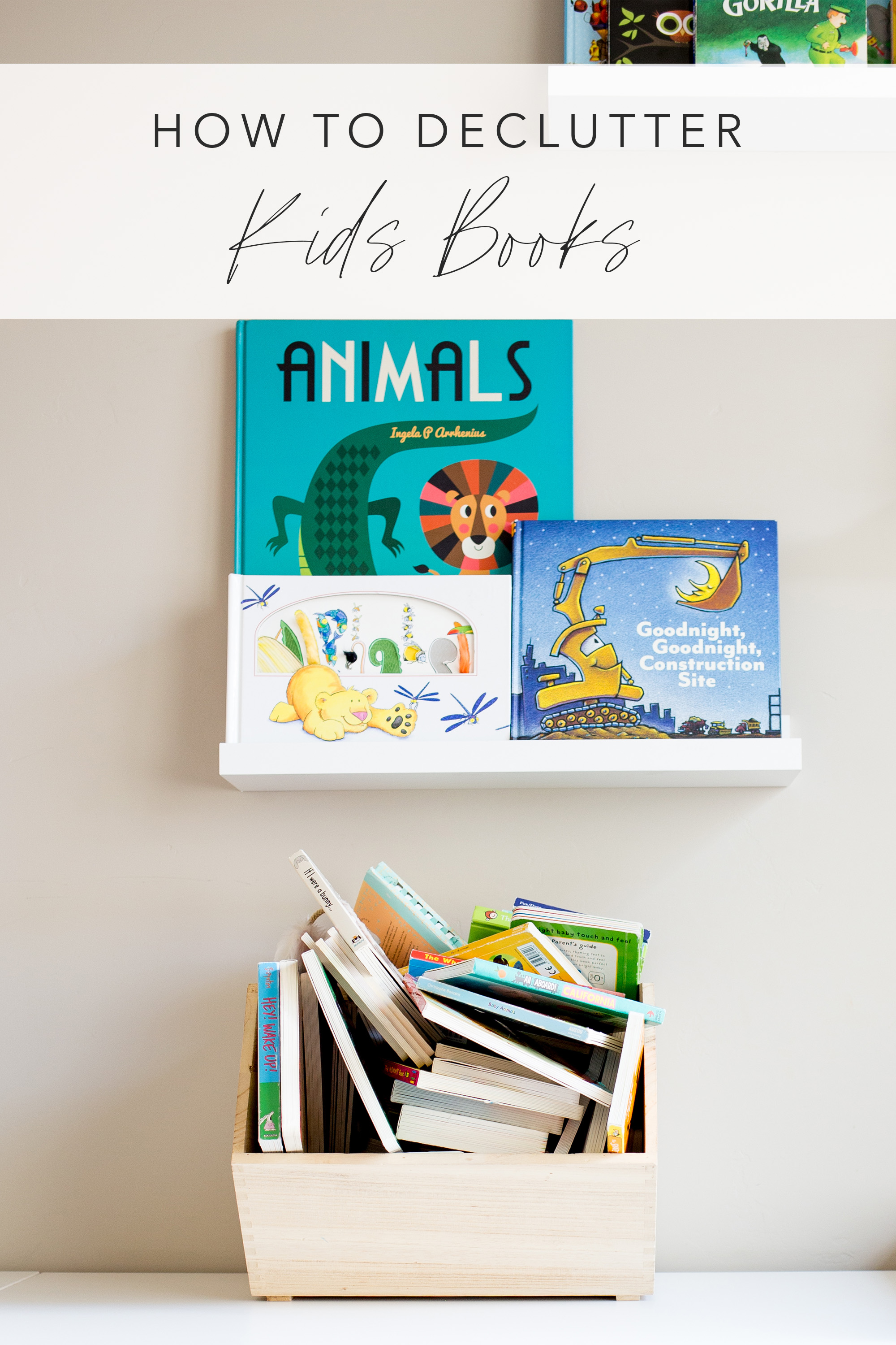how to declutter kids books image with text