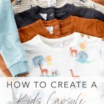 kids capsule wardrobe flatlay with text