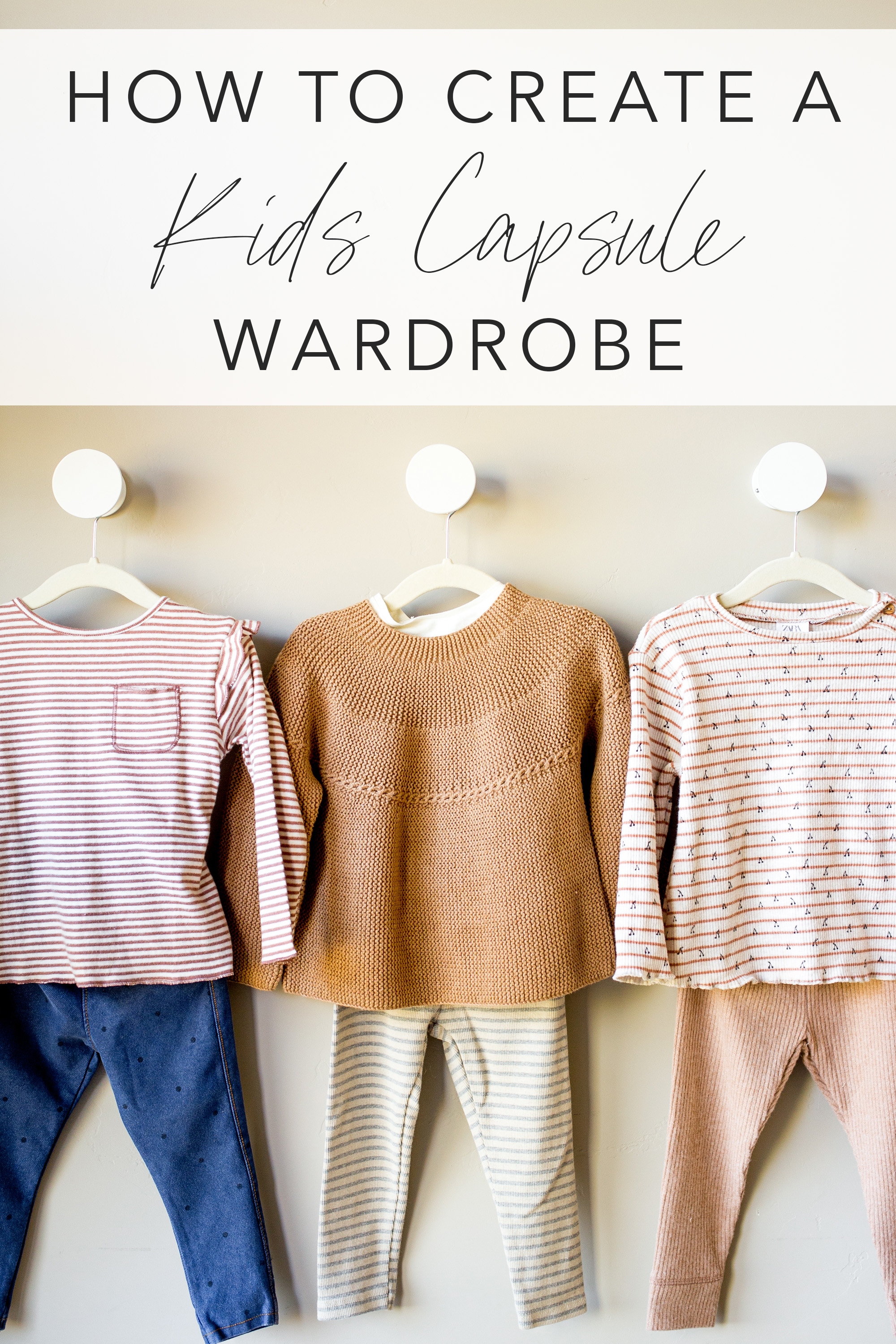 kids girls capsule wardrobe 3 outfits on hangers with text overlay