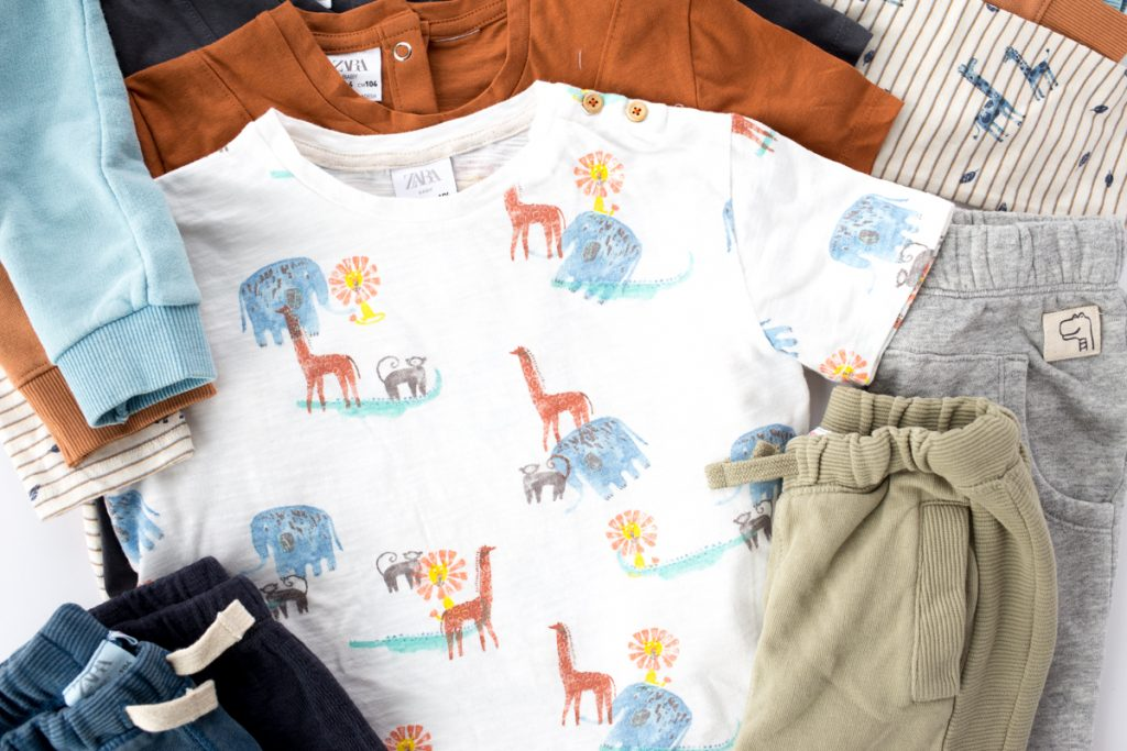 kids capsule wardrobe flatlay closeup with text