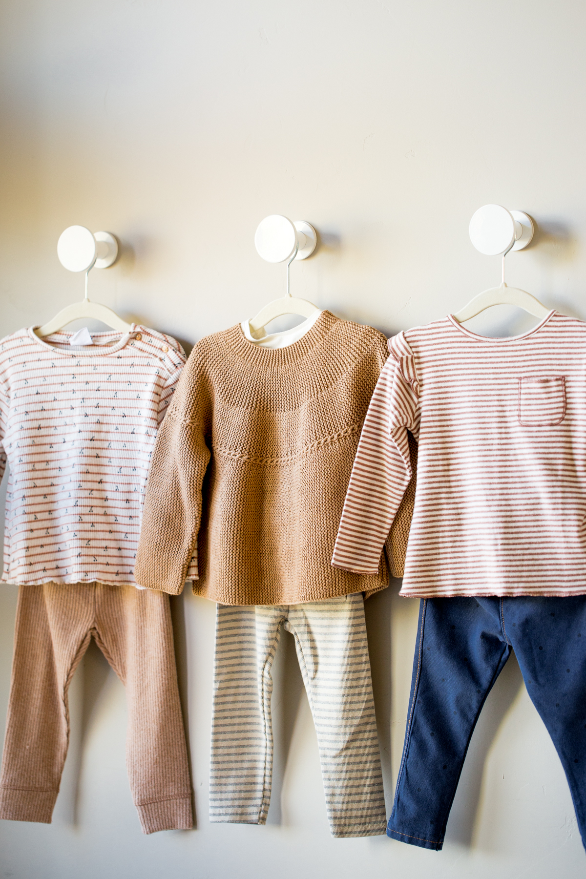 kids girls capsule wardrobe 3 outfits on hangers