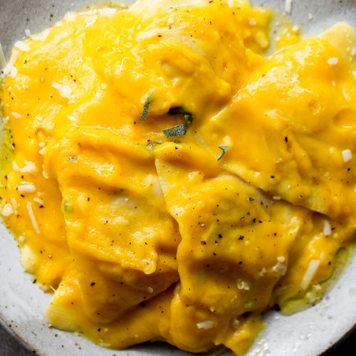 butternut squash sauce with ravioli