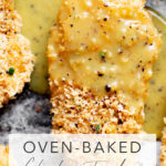 closeup overhead photo of baked chicken tenders drizzled with honey mustard sauce on a baking sheet with title text overlay