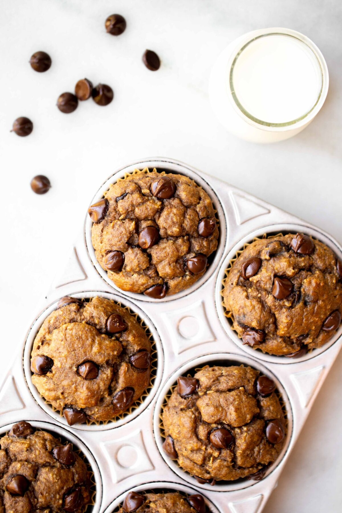 overhead photo of freshly baked chocolate chip banana muffins in an aluminum muffin pan with milk and chocolate chips in the background