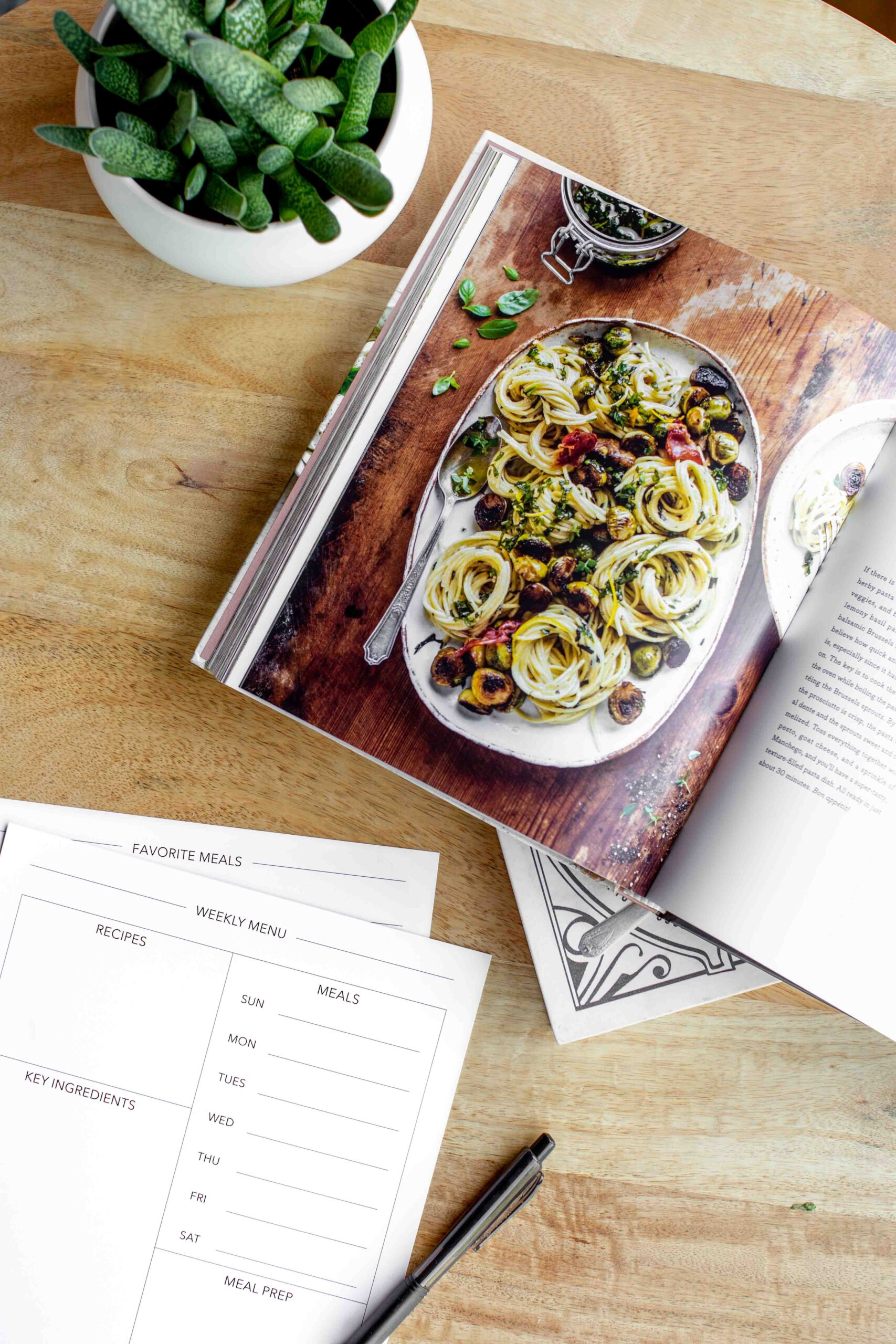 modern minimalist meal planner pages with cookbook and plant on a wood table