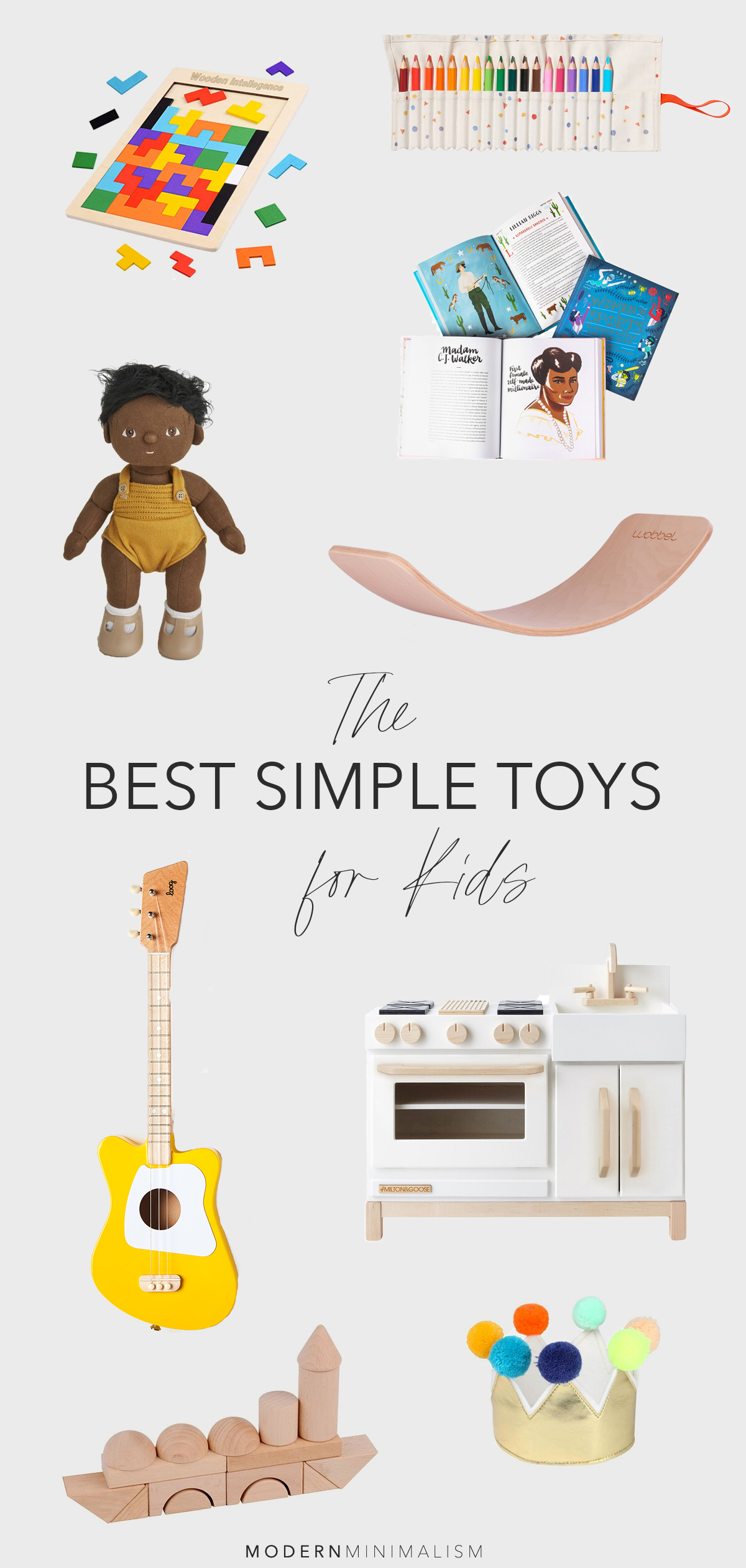 collage of the best simple toys for kids with title text overlay