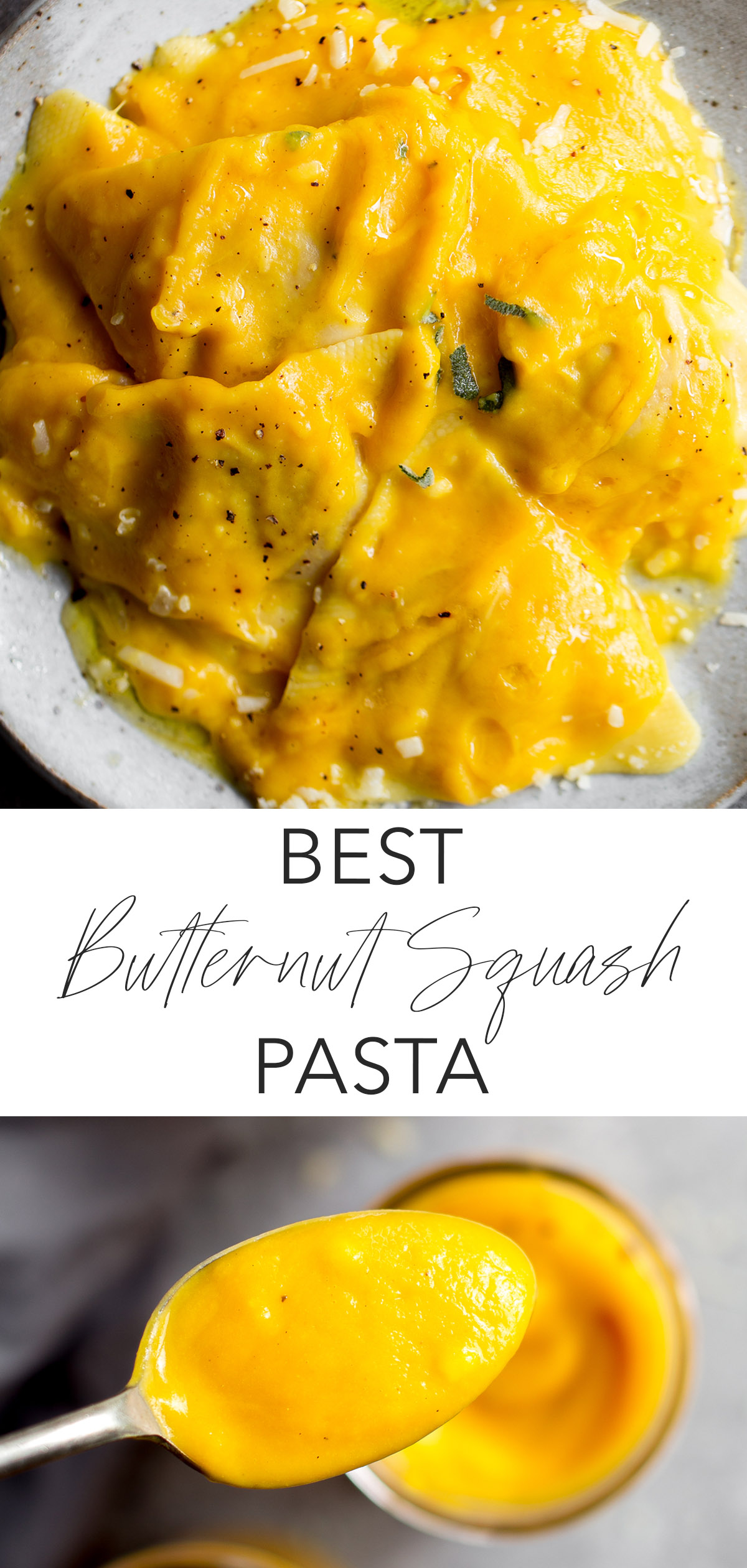 closeup of butternut squash pasta ravioli and spoon with butternut squash sauce with title text overlay