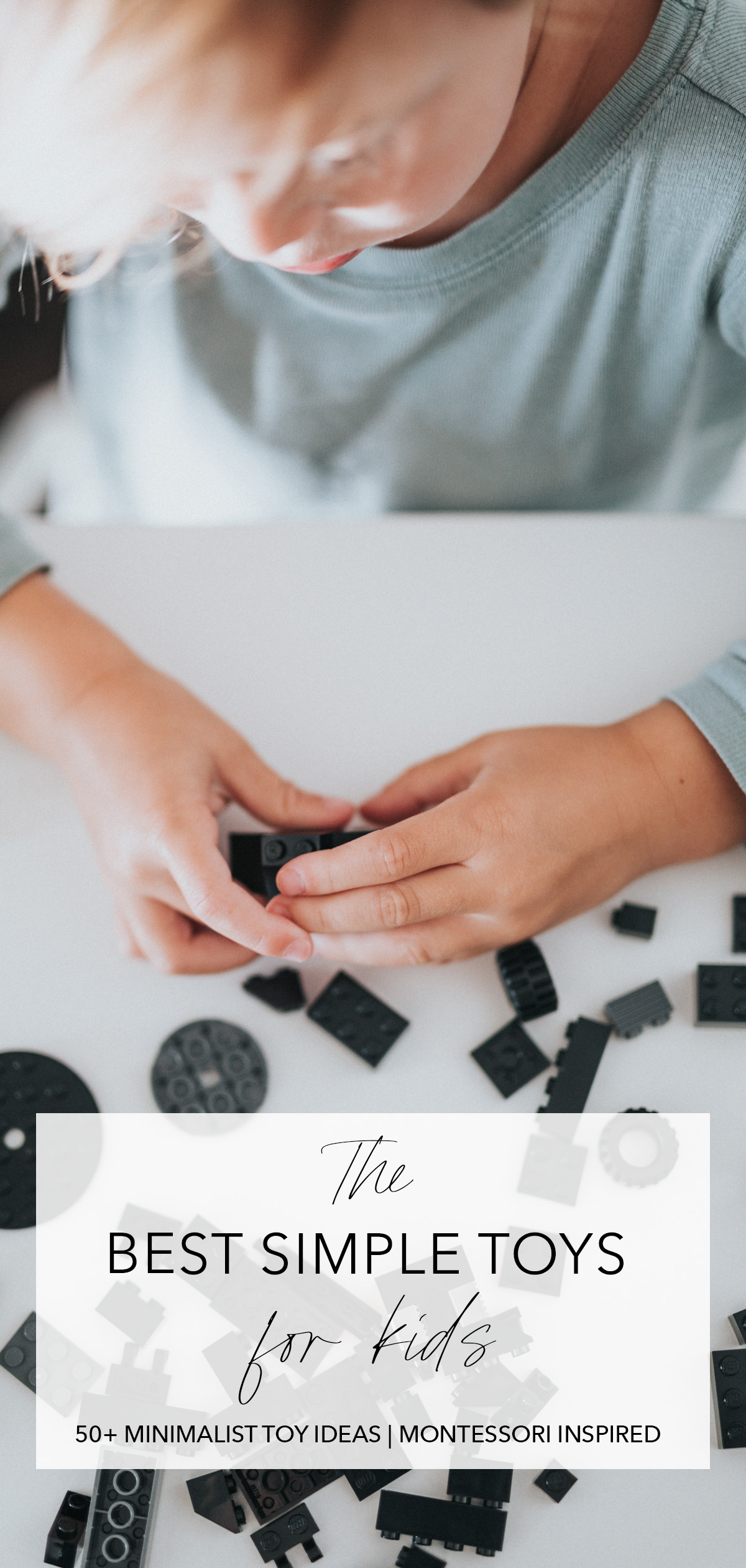 minimalist photo of a boy playing with legos with title text overlay